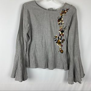 Zara Top Embroidered Flowers Tie Back Bell Sleeves